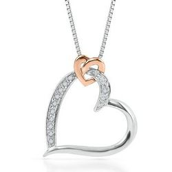 Sterling Silver and Rose Gold Round Diamond Heart Necklace