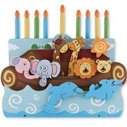 Noah's Ark Wooden Menorah
