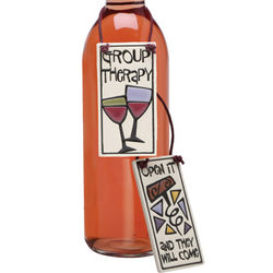 Handpainted Group Therapy Wine Bottle Tag