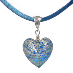 Blue with White Gold Murano Glass Heart