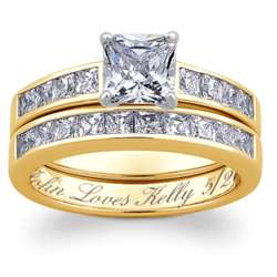 14 Karat Gold-Plated 2 Piece Square Cubic Zirconia Wedding Ring