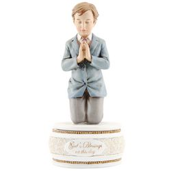 Boy's First Communion Kneeling Figurine and Rosary Box