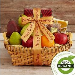 Organic Fruit and Snack Gift Basket with Happy Birthday Ribbon