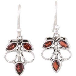 Burnt Leaves Garnet Dangle Earrings