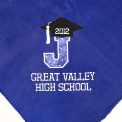 Personalized Large Letter with Cap and Diploma Fleece Blanket