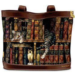 Frederick the Literate Cat Themed Tote Bag