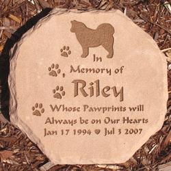 Pet Memorial Garden Stone Octagon with Dog & Paws