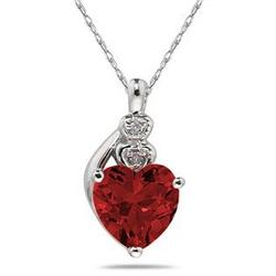 Garnet and Diamond Heart Pendant in White Gold