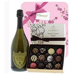 Dom Perignon & Godiva with Blossom Gift Wrap