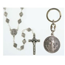 Saint Benedict Rosary and Key Chain Set