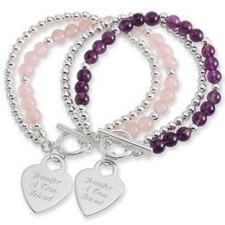 Gemstone Beads Engravable Heart Toggle Bracelet