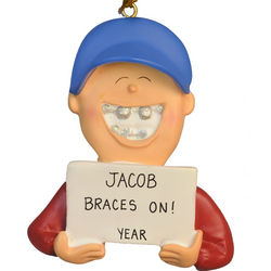 Boy with Braces On Christmas Ornament