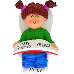 Potty Training Brunette Little Girl Ornament
