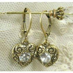 Bridal Birthday Rhinestone Heart Earrings