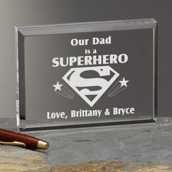 Personalized Dad is a Superhero Message Plaque