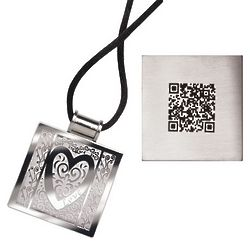 Stainless Steel Heart Necklace with QR Code Love