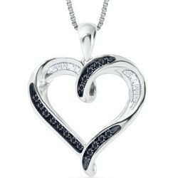 Silver and Tapered Baguette Black and White Diamond Pendant