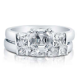 Cubic Zirconia Sterling Silver 3-Stone Bridal Ring