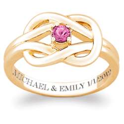 14 Karat Gold-Plated Birthstone Engraved Knot Ring