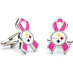 Pittsburgh Steelers Breast Cancer Awareness Cufflinks