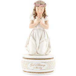 Girl's First Communion Kneeling Figurine and Rosary Box