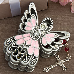 Pink and Pewter Color Angel Trinket Box