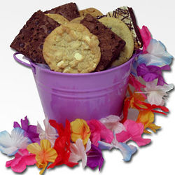 Brownies and Cookies in Purple Summer Bucket