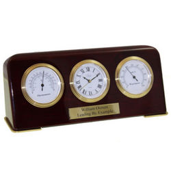 Rosewood Desk Top Weather Station with Engraved Plate