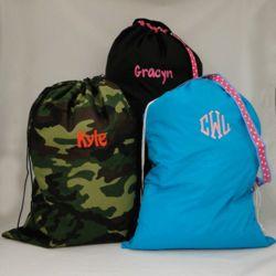 Large Ribbon Trim Personalized Laundry Bag