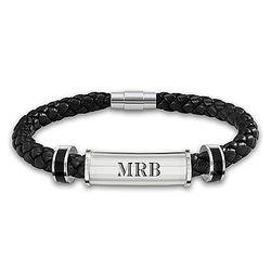 Men's Personalized Leather Wedding Bracelet with Diamonds