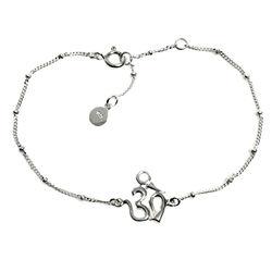 Centered Om Sterling Silver Pendant Bracelet