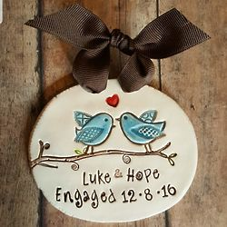 Lovebirds Personalized Engagement Ornament