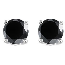 1/2 Ct Round Black Diamond Stud Earrings in 14K White Gold