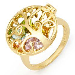Family Tree 6 MM Round Birthstone Gold Locket Ring