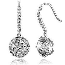 Sterling Silver Round CZ Dangle Earrings