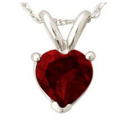 Heart Shape Garnet Pendant Set in 14k White Gold