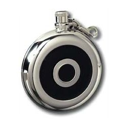 8 Ounce Black Leather and Stainless Steel Round Flask