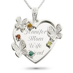 Sterling Butterfly Family Necklace