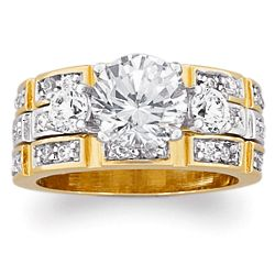 14K Gold Plated Cubic Zirconia Wedding Ring Set