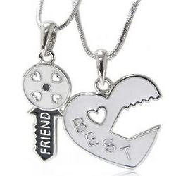 White Silver Tone Best Friend Necklace