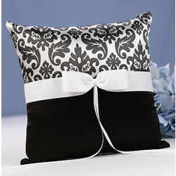 Damask Black Ring Bearer Pillow