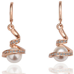 Swirl Drop Earrings with Freshwater-Cultured Pearl