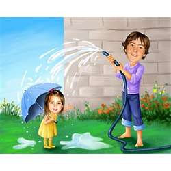 Custom Photo Rain Rain Go Away Caricature Art