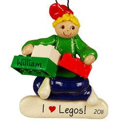 Personalized Boy with Legos Ornament