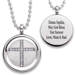 Personalized Stainless Steel Crystal Cross Disc Necklace