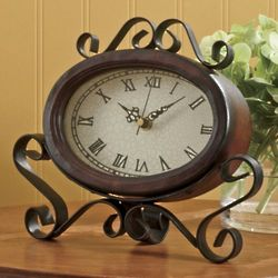 Scrolled Metal Easel Clock