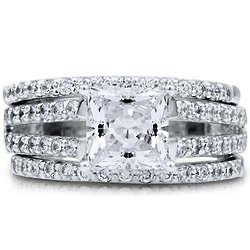 Princess Cubic Zirconia Sterling Silver Bridal Ring