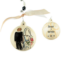 Personalized Wedding Couple Ceramic Ball Christmas Ornament