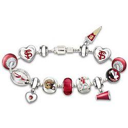 FSU Seminoles Charm Bracelet with Swarovski Crystals