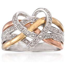 Diamond Tri-Tone Heart Ring with Openwork Design
